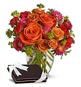 Flower Bouquets: Sweet Roses with Chocolates