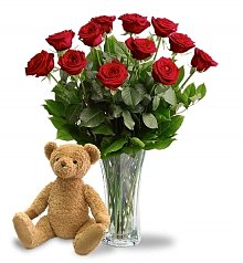 Roses: Dozen Red Roses with Plush Teddy Bear